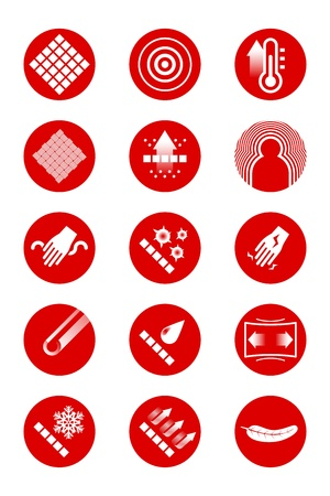 filtration: Description icons of clothes  red