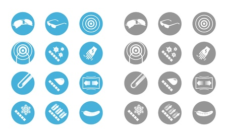 Description icons of glasses  gray blue