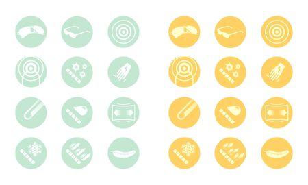 Description icons of glasses  yellow green orange