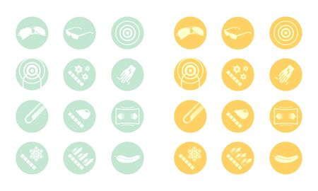 cuticle: Description icons of glasses  yellow green orange