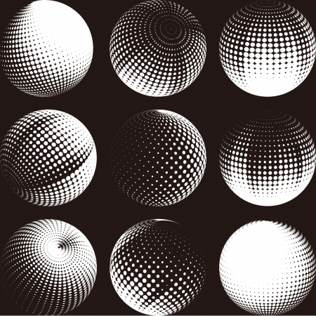 sun glasses: Collection of halftone sphere logo set  Abstract globe symbol, isolated round icon, business concept  You can use science and technology, tourism, global financial or environmental background   Illustration