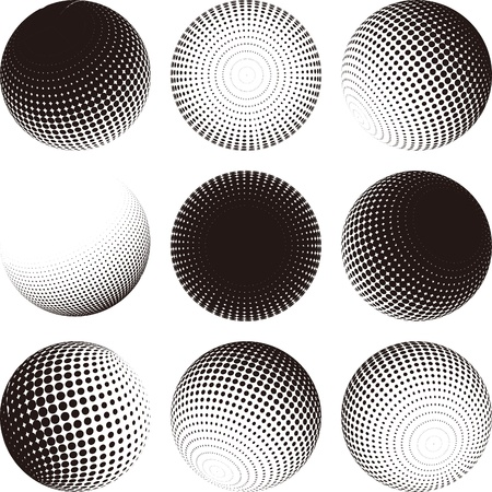 financial globe: Collection of halftone sphere vector logo template  Abstract globe symbol, isolated round icon, business concept  You can use science and technology, tourism, financial or environmental background   Illustration