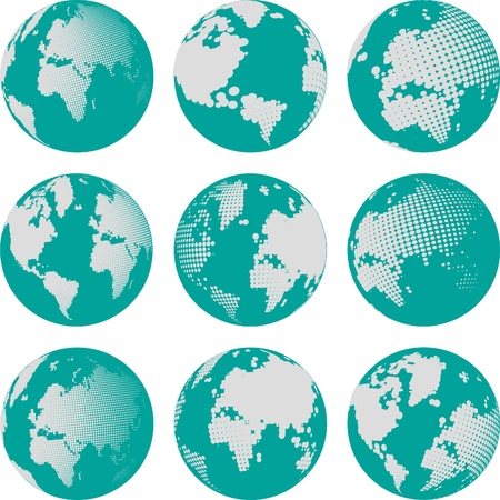Collection of halftone sphere vector   Abstract globe symbol, isolated round icon, business concept  You can use science and technology, tourism, global financial or environmental background