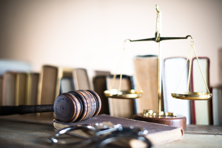 magistrate: Justice theme. Law wooden gavel barrister, justice concept, legal system Stock Photo