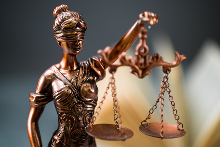 Symbols for balance and power in law and court Stock Photo