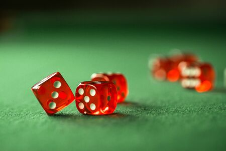 Casino red dice in montion