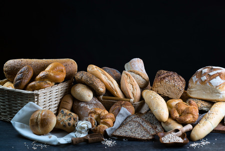 Background of fresh baked bread, close-up 스톡 콘텐츠