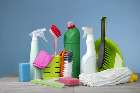 Cleaning concept with supplies Stock Photo