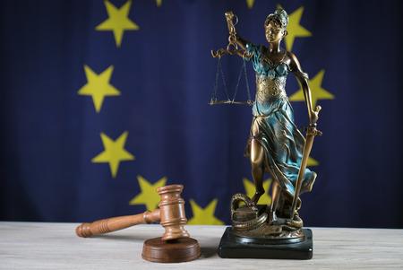 Law Concept. Judges gavel eu flag Stock Photo