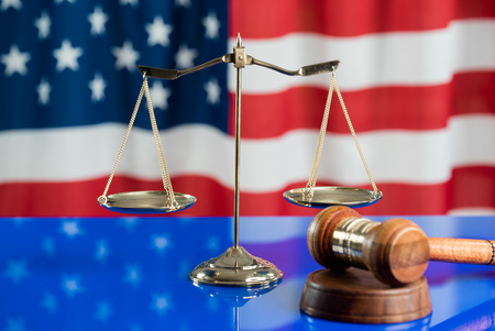 Symbol of law and justice, justice and justice concept. usa flag
