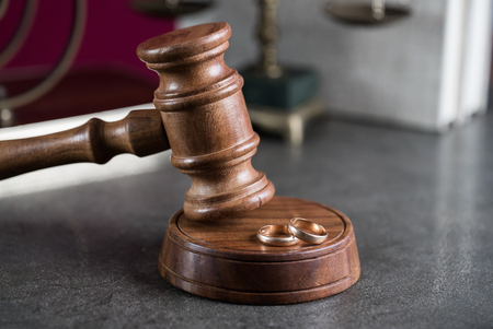 Legal, Law, Legislation Concept. Judge gavel on law books with scales of justice. divorce Stock Photo