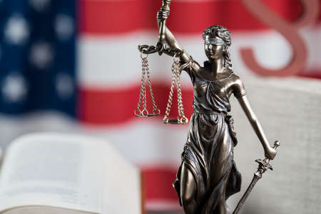 the lady judge and background with USA flag Stock Photo