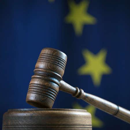 Law symbols composition. EU flag