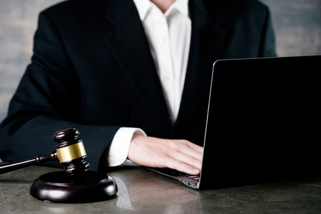 justice and law concept.Male judge in a courtroom Stock Photo