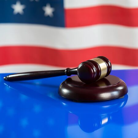 Legal, Law, Legislation Concept. Judge gavel usa flag