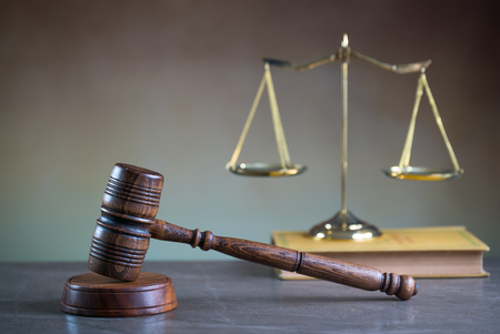 Law theme. Wooden gavel and books Stock Photo