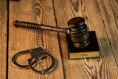 Legal Law Legislation Concept. handcuffs and gavel