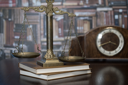 Law theme, Gavel of the judge, justice scale, books, Stock Photo