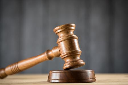 Gavel on court desk Stock Photo