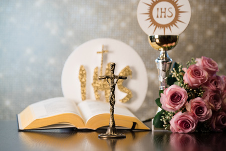 Catholic Religion theme. Holy communion. Stockfoto