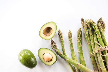 Fresh green asparagus and avocado