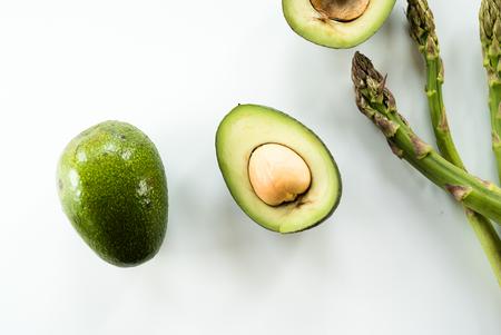 Organic Avocados with asparagus. healthy food