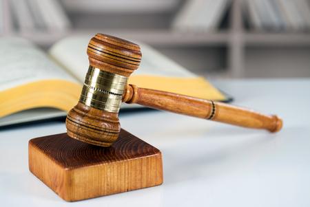Closeup of gavel in court room Imagens