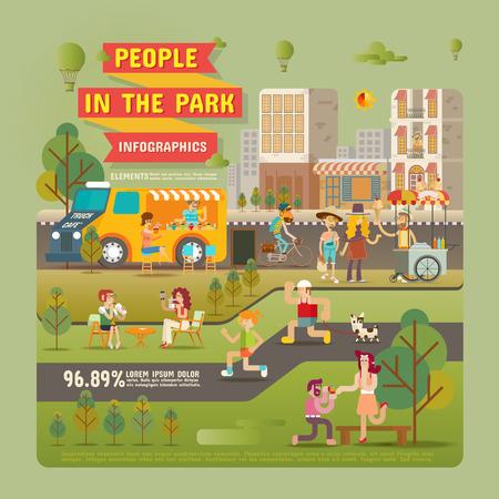 viaje familia: La gente en el Infografía elementos Parque Vectores