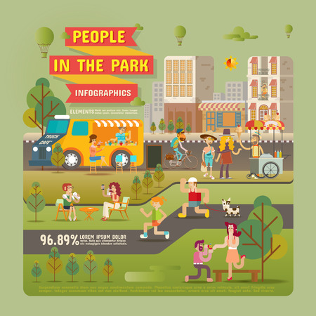 People in the Park Infographic Elements Vector