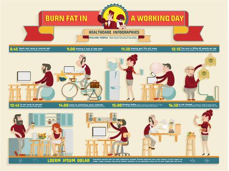 jornada de trabajo: Quemar grasa en un d�a de trabajo Infograf�a