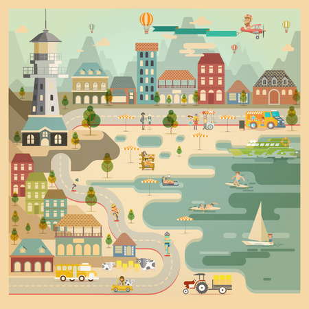 Landscape of Countryside Harbour Village Vector