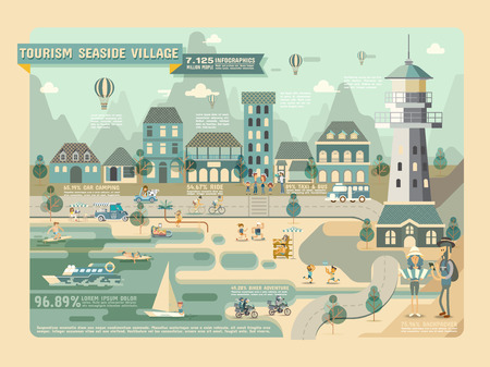 lighthouses: Tourism seaside village Travel Infographic Elements