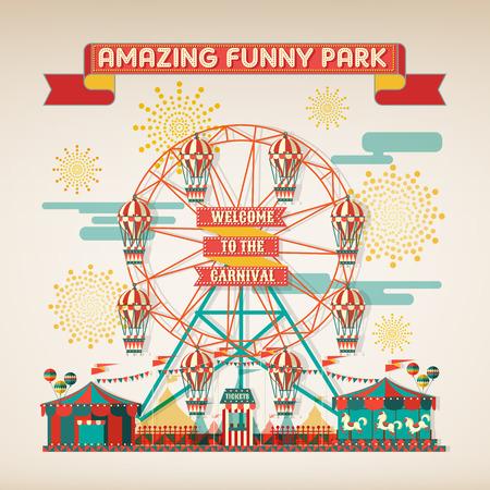 面白い公園カーニバル日シーン要素