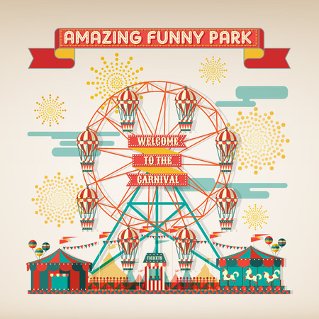 vector wheel: FUNNY PARK CARNIVAL DAY SCENE ELEMENTS