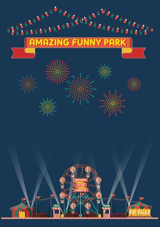 面白い公園カーニバルの夜のシーンの壁紙
