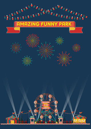 FUNNY PARK CARNIVAL NIGHT SCENE WALLPAPER