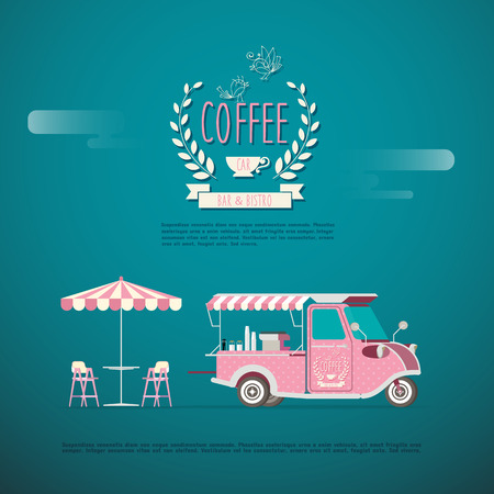 Coffee Car TUKTUK Thailand Illustration