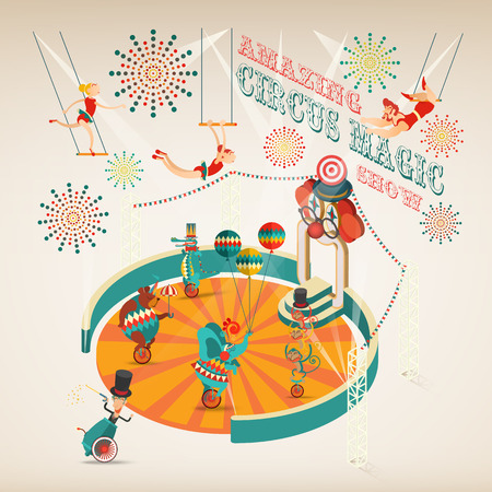 tent vector: Amazing Circus Magic Show