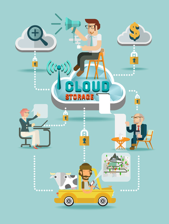 cloud service: Cloud Storage Flat design concept of cloud service and mobile devices. Process of upload and download vector illustration