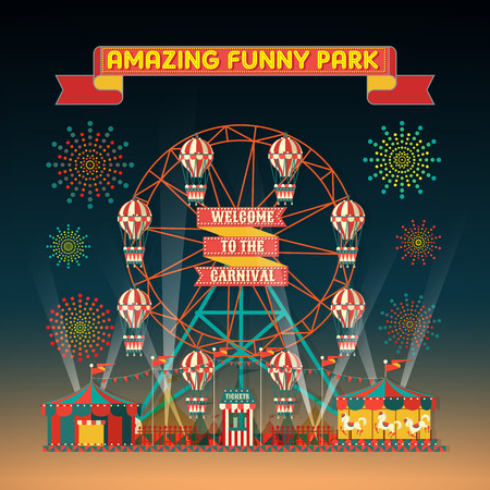 vector wheel: FUNNY PARK CARNIVAL NIGHT SCENE ELEMENTS