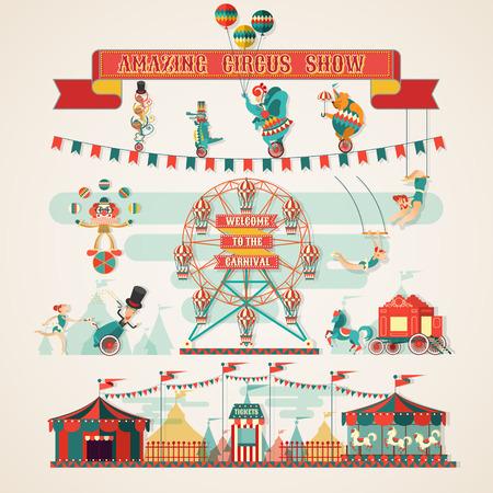 素晴らしいサーカスのショーの要素  イラスト・ベクター素材