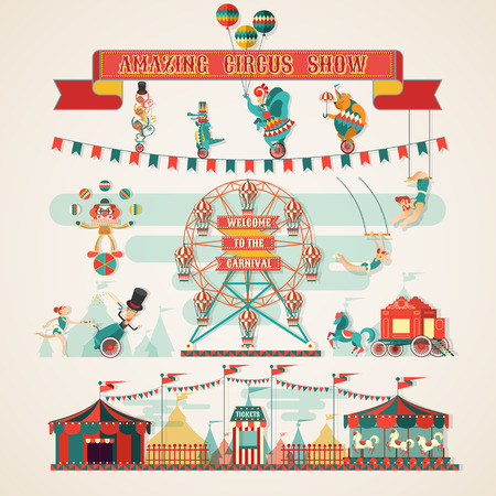 payasos caricatura: Increíble Circus Mostrar elementos Vectores
