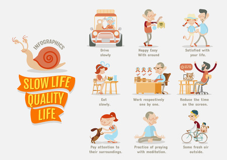 la vie: La qualité de vie de Slow Life Illustration