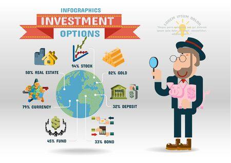 strategic management: Investment, Flat design concepts for business, finance, strategic management.