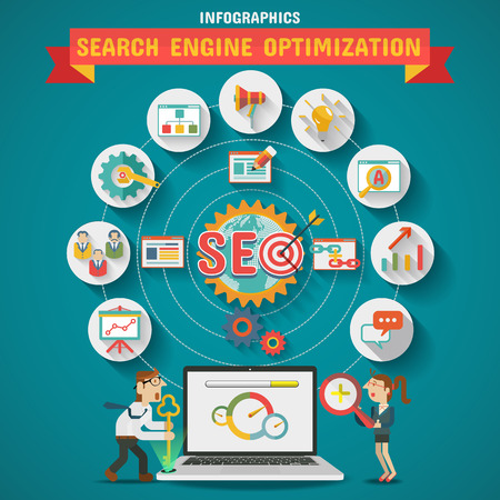 SEO Search engine optimization Icon set 向量圖像