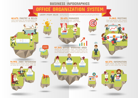 Business Infographics, Office Organization System.