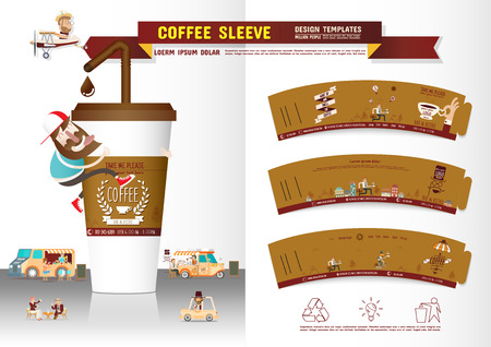 drinking coffee: Coffee Sleeve Design Templates Illustration