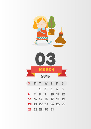 03: Calendar 2016 with 12 cute cartoon characters - 03 March page Vector template design Illustration