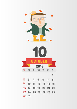 10 12: Calendar 2016 with 12 cute cartoon characters - 10 October page Vector template design Illustration