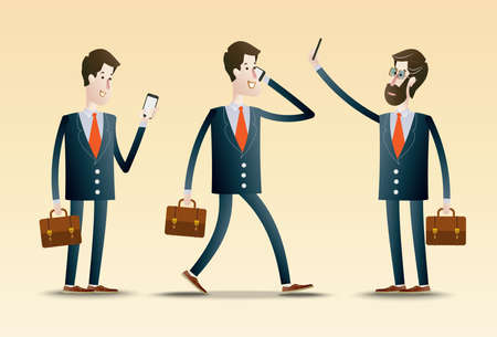 using: Young Business People using Smartphone